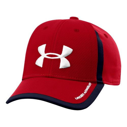 Kids Under Armour Boys UA Sideline Mesh Stretch Fit Cap Headwear - Red/White S/M
