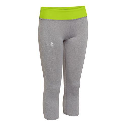 Kids Under Armour Girls HeatGear Sonic Capri Tights - True Gray Heather YM