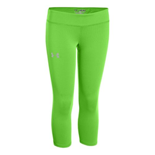 Kids Under Armour Girls Heatgear Sonic Capri Tights - Gecko Green/Silver XL