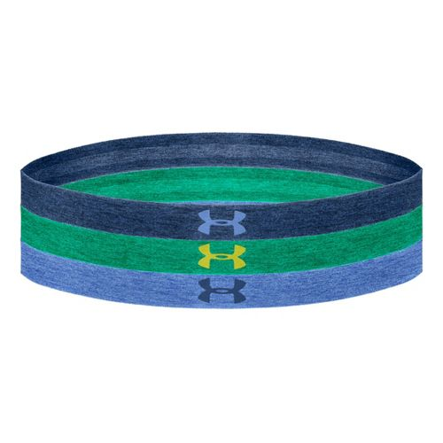 Womens Under Armour Heathered Multi Pack Headband Headwear - Heather Jean/Emerald Lake