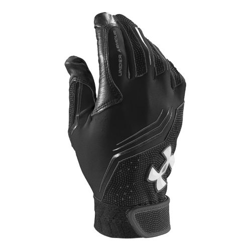 Mens Under Armour UA Clean Up Batting Glove Handwear - Black/White XS
