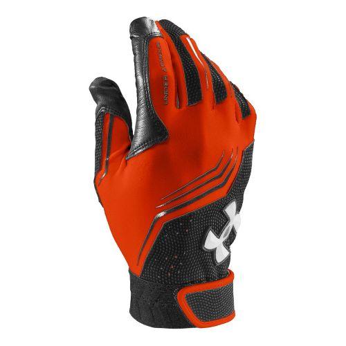 Mens Under Armour UA Clean Up Batting Glove Handwear - Dark Orange/Black XS