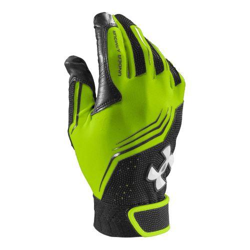 Mens Under Armour UA Clean Up Batting Glove Handwear - Hyper Green/Black XS