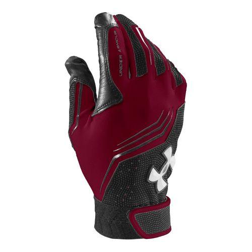 Mens Under Armour UA Clean Up Batting Glove Handwear - Maroon/Black M