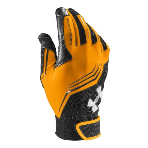 Mens Under Armour UA Clean Up Batting Glove Handwear - Steeltown Gold/Black L