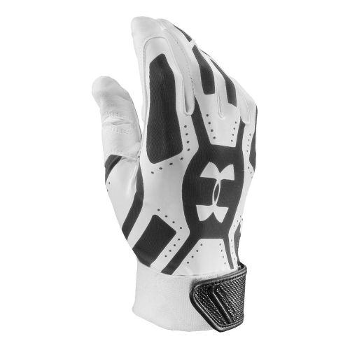 Mens Under Armour UA Motive Batting Glove Handwear - White/Black S