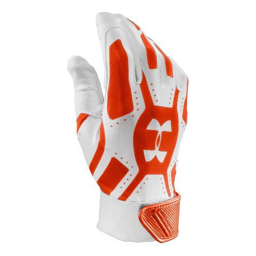 Mens Under Armour UA Motive Batting Glove Handwear - White/Dark Orange L