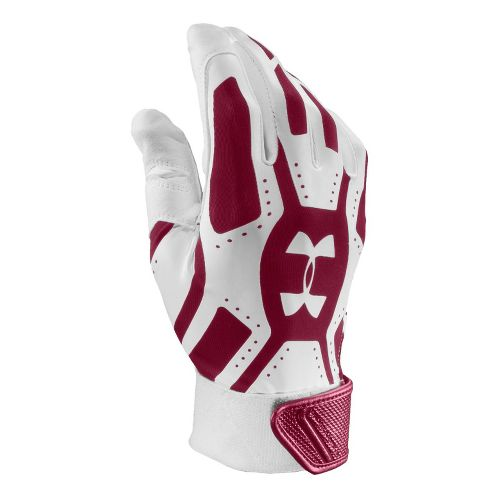 Mens Under Armour UA Motive Batting Glove Handwear - White/Maroon L
