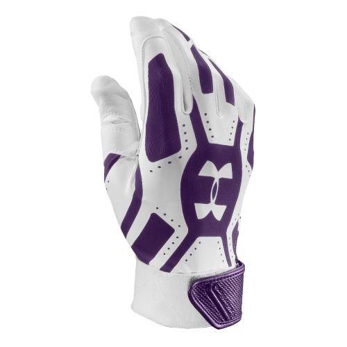 Mens Under Armour UA Motive Batting Glove Handwear - White/Purple L