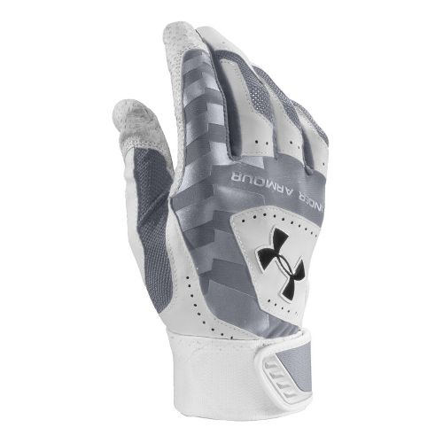 Mens Under Armour UA Yard Batting Glove Handwear - Steel/White M