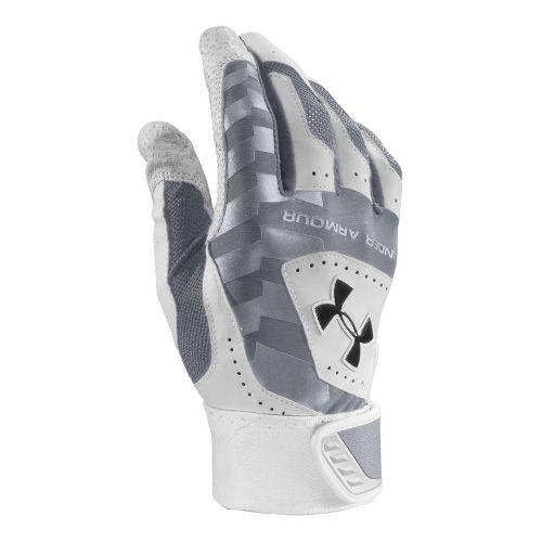 Mens Under Armour UA Yard Batting Glove Handwear - Steel/White XL