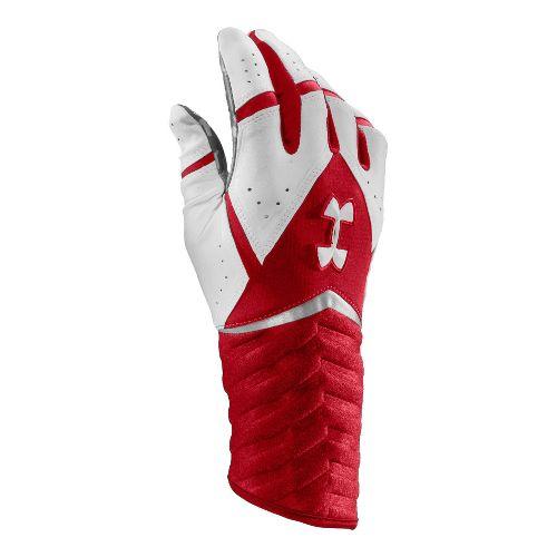 Mens Under Armour UA Highlight Batting Glove Handwear - Red/White S