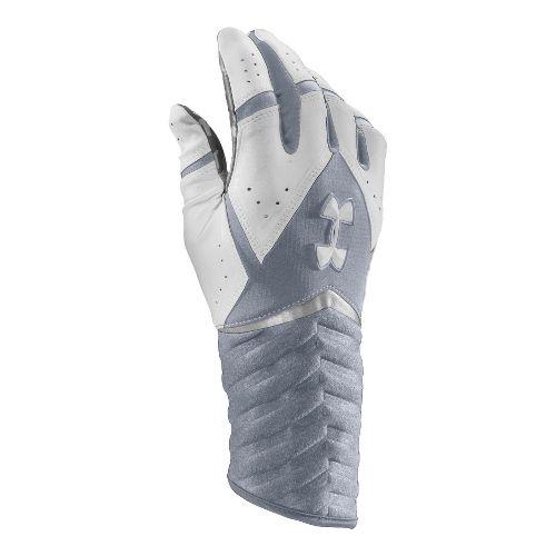 Mens Under Armour UA Highlight Batting Glove Handwear - Steel/White M