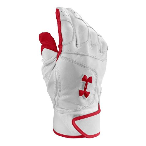 Mens Under Armour UA Epic Batting Glove Handwear - White/Red S