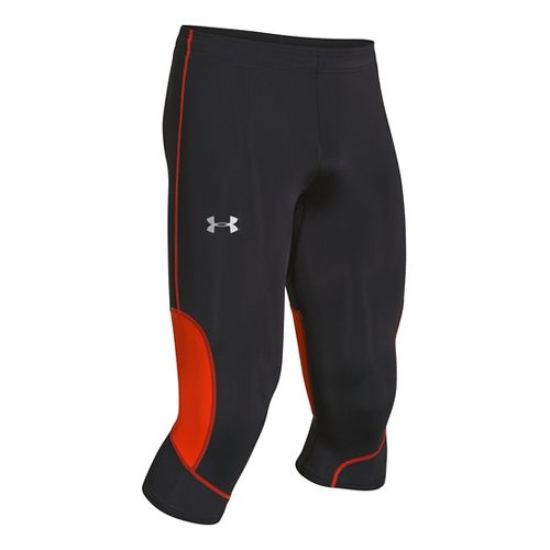 Mens Under Armour Run Compression Capri Tights - Black/Volcano M