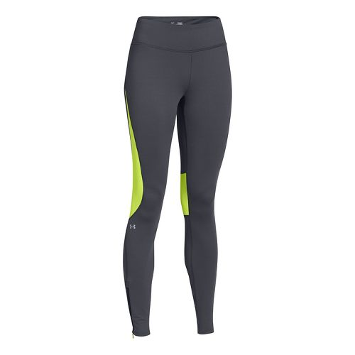 Womens Under Armour UA ColdGear Run Fitted Tights - Lead L