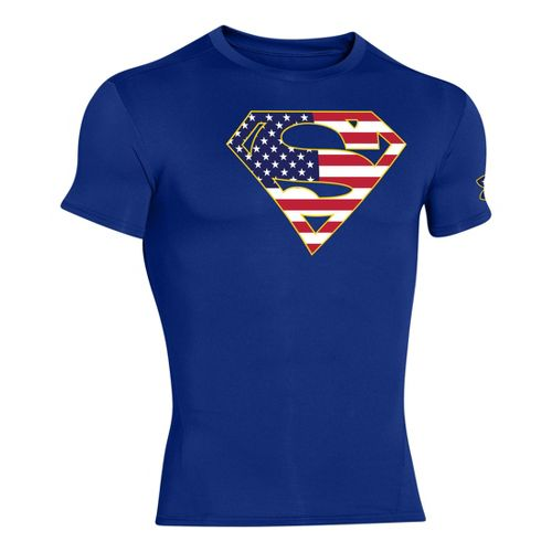 Mens Under Armour Alter Ego Compression Short Sleeve Technical Tops - Royal/Midnight Navy S