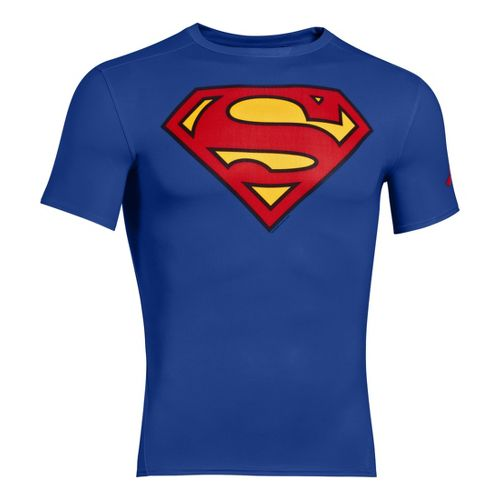 Mens Under Armour Alter Ego Compression Short Sleeve Technical Tops - Royal/Red L