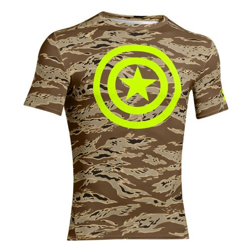 Mens Under Armour Alter Ego Compression Short Sleeve Technical Tops - Saddle XXL