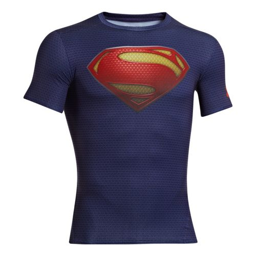 Mens Under Armour Alter Ego Compression Short Sleeve Technical Tops - Midnight Navy/Red XXL