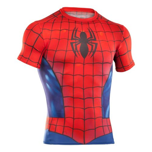 Mens Under Armour Alter Ego Compression Short Sleeve Technical Tops - Red/Royal XL
