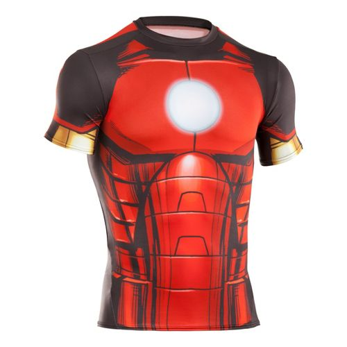 Mens Under Armour Alter Ego Compression Short Sleeve Technical Tops - Red/Vegas Gold L
