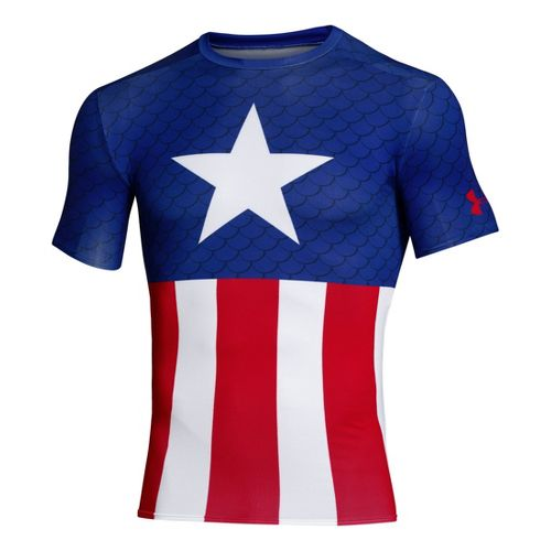 Mens Under Armour Alter Ego Compression Short Sleeve Technical Tops - Royal/Red M