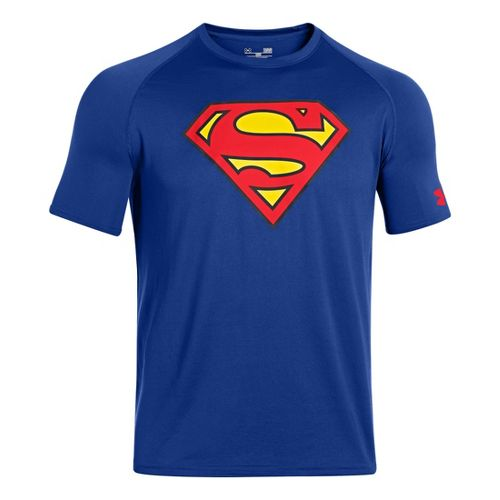 Mens Under Armour Alter Ego Superman T Short Sleeve Technical Tops - Royal/Red L
