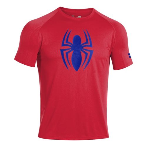 Mens Under Armour Alter Ego Spiderman T Short Sleeve Technical Tops - Red/Royal L