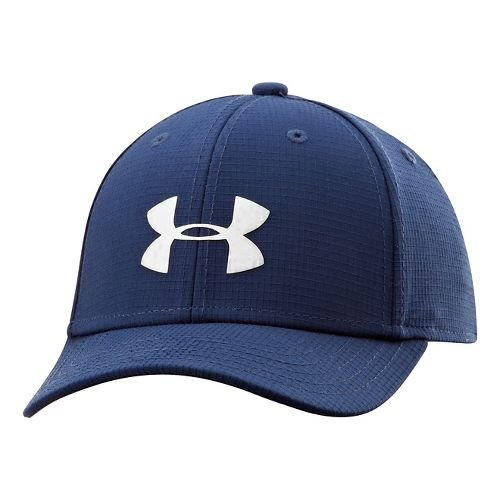 Kids Under Armour Boys UA Headline Stretch Fit Cap Headwear - Midnight Navy/White S/M