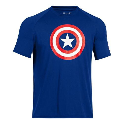 Mens Under Armour Alter Ego Captain America T Short Sleeve Technical Tops - Royal/Red M ...