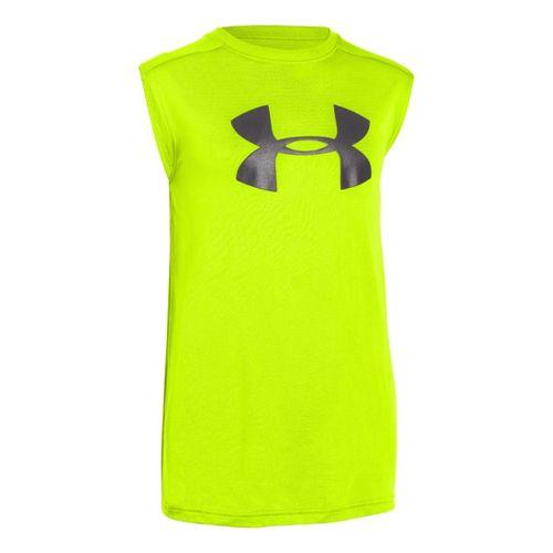 Kids Under Armour Boys UA Tech Big Logo Sleeveless T-shirt Technical Tops - Hi-Viz ...