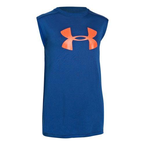 Kids Under Armour Boys UA Tech Big Logo Sleeveless T-shirt Technical Tops - Royal/Neo Pulse ...