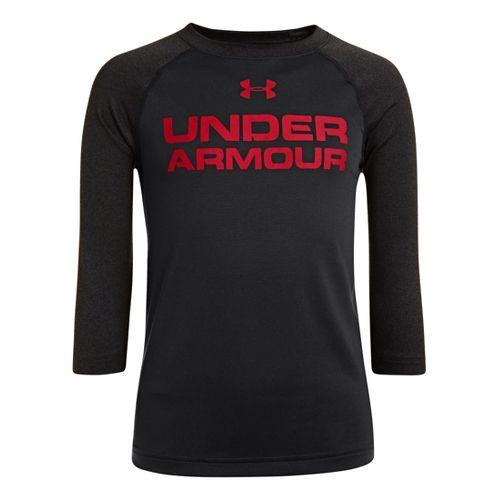 Kids Under Armour Boys Baseball T 3/4 Long Sleeve No Zip Technical Tops - Black/Asphalt ...