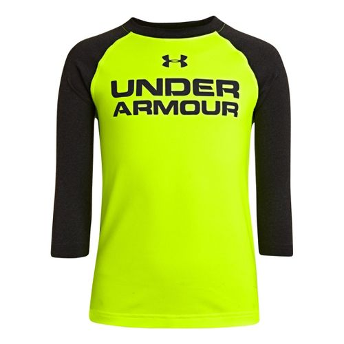 Kids Under Armour Boys Baseball T 3/4 Long Sleeve No Zip Technical Tops - Hi-Viz ...