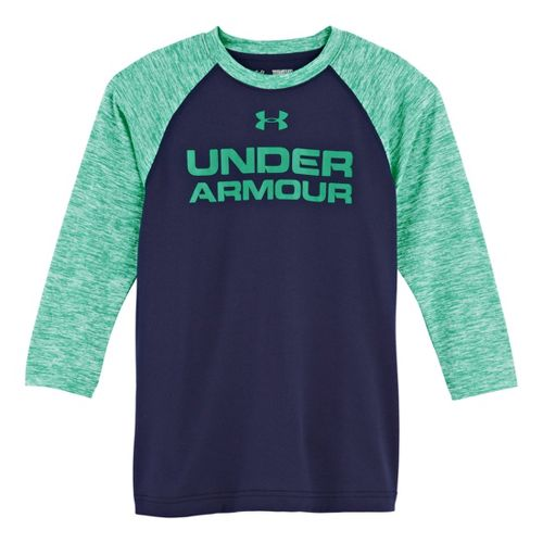 Kids Under Armour Boys Baseball T 3/4 Long Sleeve No Zip Technical Tops - Midnight ...