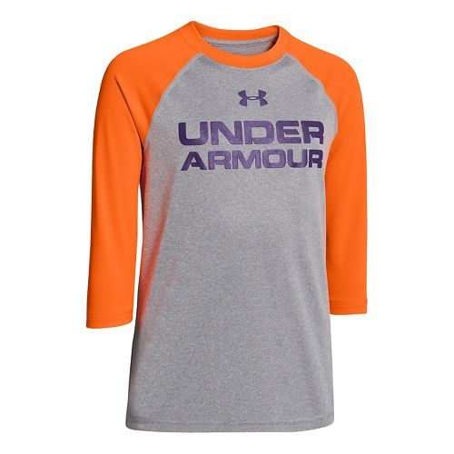 Kids Under Armour Boys Baseball T 3/4 Long Sleeve No Zip Technical Tops - True ...