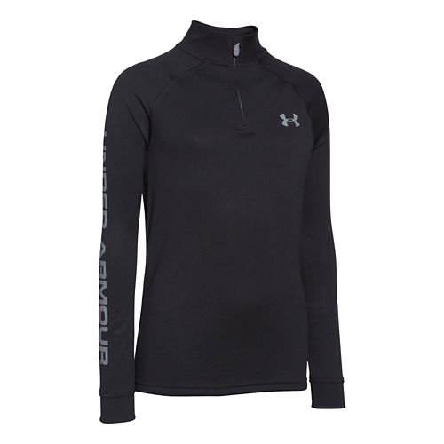 Kids Under Armour Boys Tech 1/4 Zip Long Sleeve Half Zip Technical Tops - Black/Graphite ...