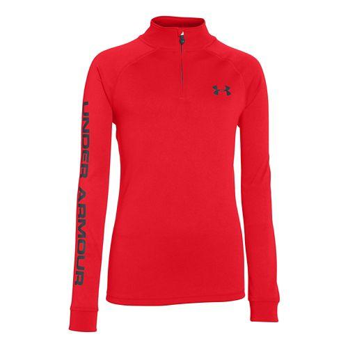 Kids Under Armour Boys Tech 1/4 Zip Long Sleeve Half Zip Technical Tops - Risk Red/Black YS