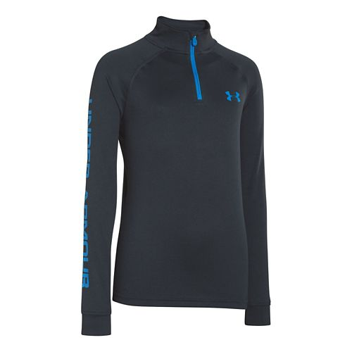 Kids Under Armour Boys Tech 1/4 Zip Long Sleeve 1/2 Zip Technical Tops - Anthracite/Electric ...