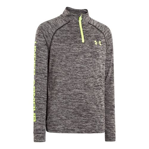 Kids Under Armour Boys Tech Long Sleeve 1/2 Zip Technical Tops - Black/Hi-Viz Yellow L ...