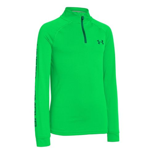 Kids Under Armour Boys Tech Long Sleeve 1/2 Zip Technical Tops - Green Energy/Blade XL ...