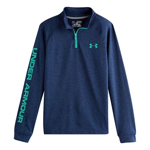 Kids Under Armour Boys Tech 1/4 Zip Long Sleeve 1/2 Zip Technical Tops - Heather ...