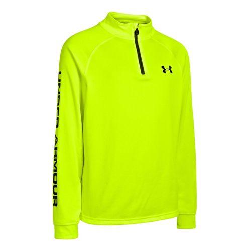 Kids Under Armour Boys Tech Long Sleeve 1/2 Zip Technical Tops - Hi-Viz Yellow/Charcoal XS ...