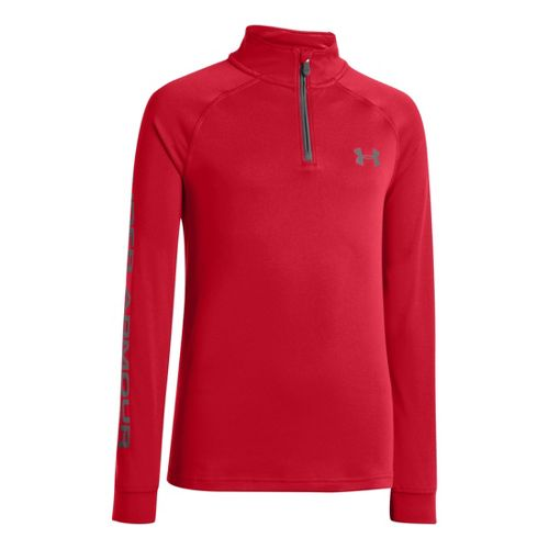 Kids Under Armour Boys Tech Long Sleeve 1/2 Zip Technical Tops - Red/Graphite S