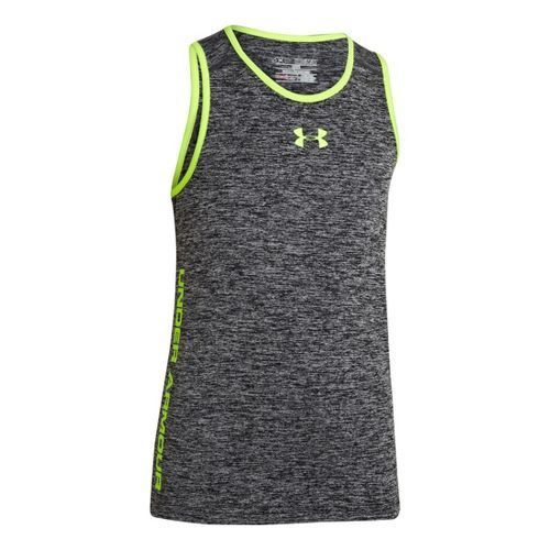 Kids Under Armour Boys Tech Tanks Technical Tops - Black/Hi-Viz Yellow XL