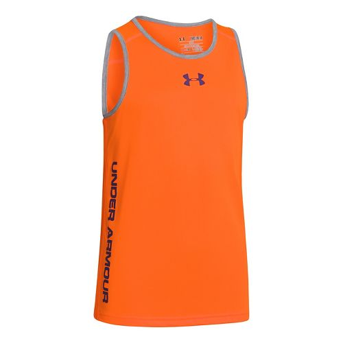 Kids Under Armour Boys Tech Tanks Technical Tops - Blaze Orange/Steel S