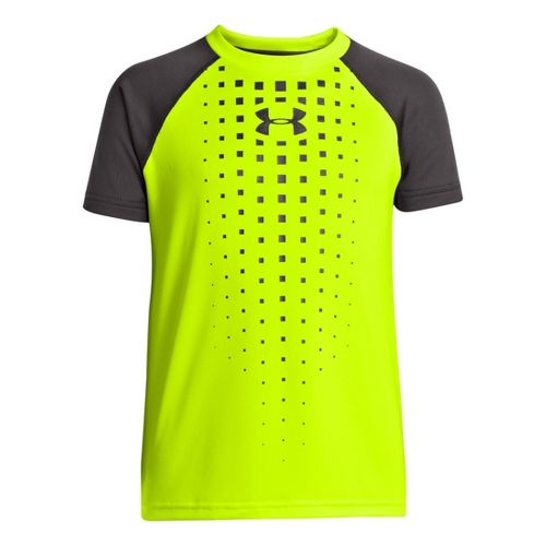 Kids Under Armour Boys Done Done Done T Short Sleeve Technical Tops - Hi-Viz Yellow/Charcoal ...