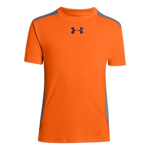 Kids Under Armour Boys Show Me Sweat T Short Sleeve Technical Tops - Blaze Orange/Bright ...