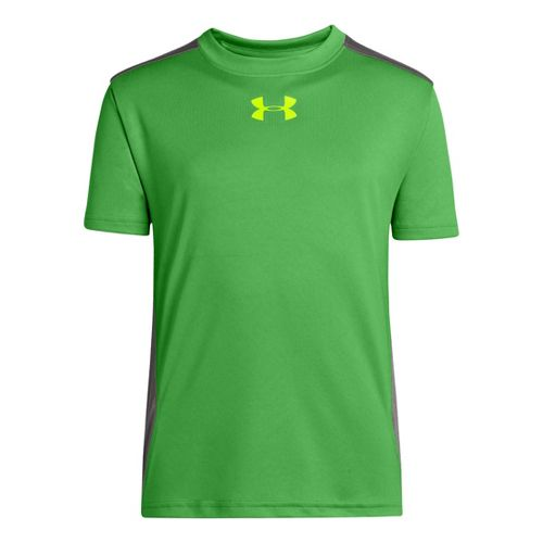 Kids Under Armour Boys Show Me Sweat T Short Sleeve Technical Tops - Lizard/Hi-Viz Yellow ...